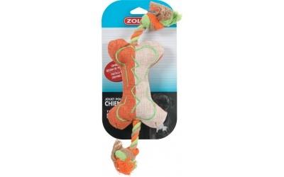Играчка памучен кокал оранжев с цветно въженце 35см