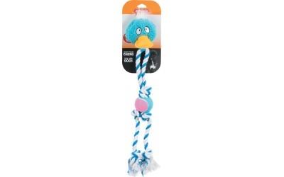 Играчка плюшен петел на синьо въже 44 см
