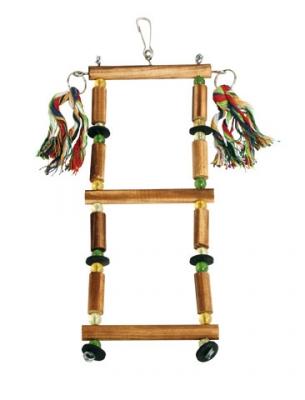 Дървена стълба за папагали 35 см с пам.въженца