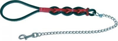 Повод верижен с кожена плетена дръжка 80 см