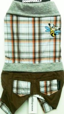 Комплект кафяв панталон с карирана блузка
