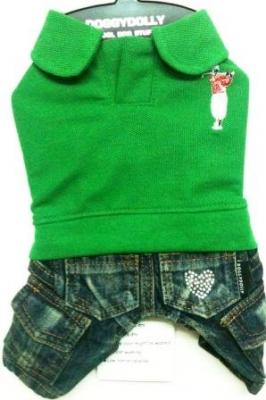 Комплект дънки със зелена блузка