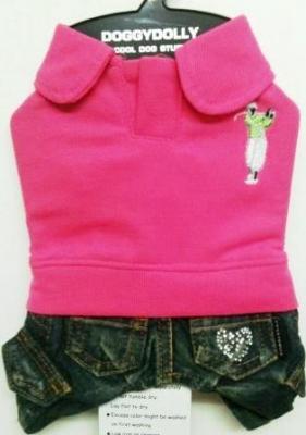 Комплект дънки с розова блузка