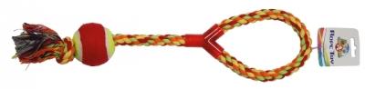 Пам.цветно въже с дръжка и тенис топка 43 см