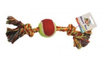 Пам.цветно въже 30.5 см с тенис топка