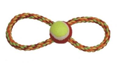 Пам.цветно въже осморка 28 см с тенис топка