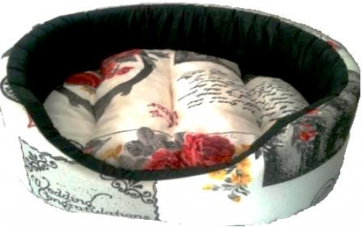 Легло плат Vintage на цветя с черни мотиви
