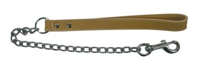 Повод верижен с кожена дръжка 58/2 см